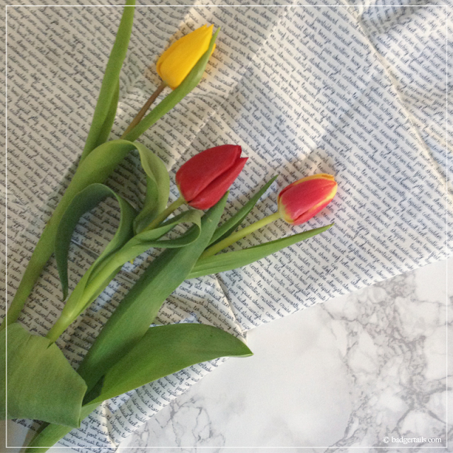 Red-and-Yellow-Tulips-on-Fabric-&-Marble