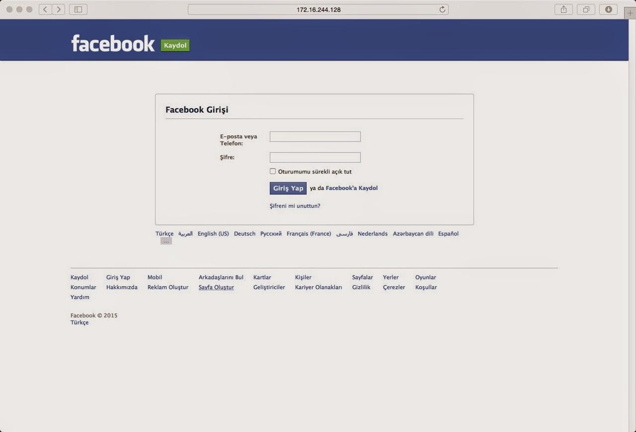 facebook login ekranı