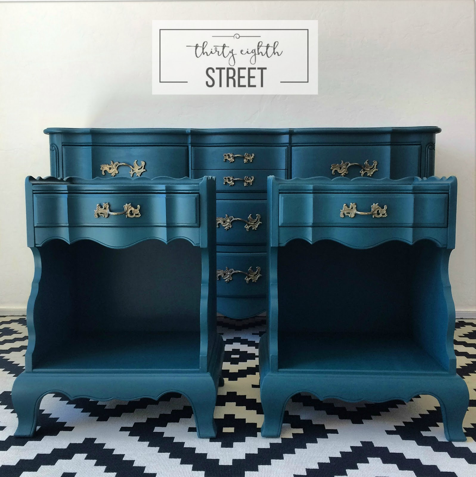 Provincial Bedroom Furniture Painted Peacock Blue Dresser Thirty Eighth Street