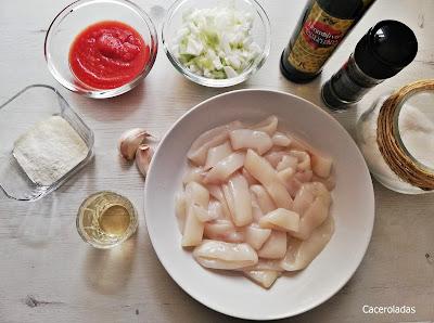 Ingredientes para calamares en salsa