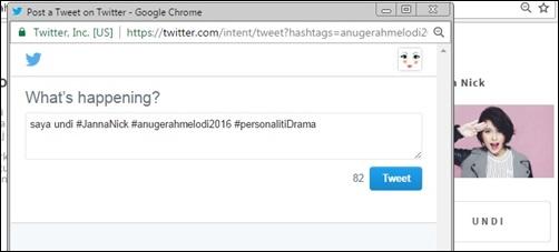 Untuk melayakkan undian anda, anda kena hantar undi Anugerah Melodi menggunakan twitter. Siap!