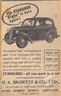 H A Browett & Co Ltd - Leicester Standard car dealer advert 1946