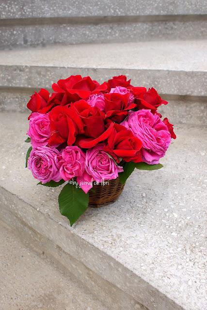aranjament in cos rustic cu trandafiri de gradina
