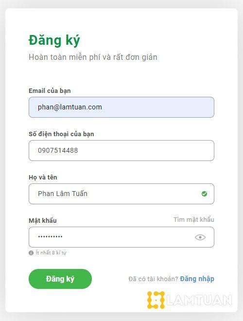 Điền đầy đủ thông tin cá nhân để đăng ký Finhay