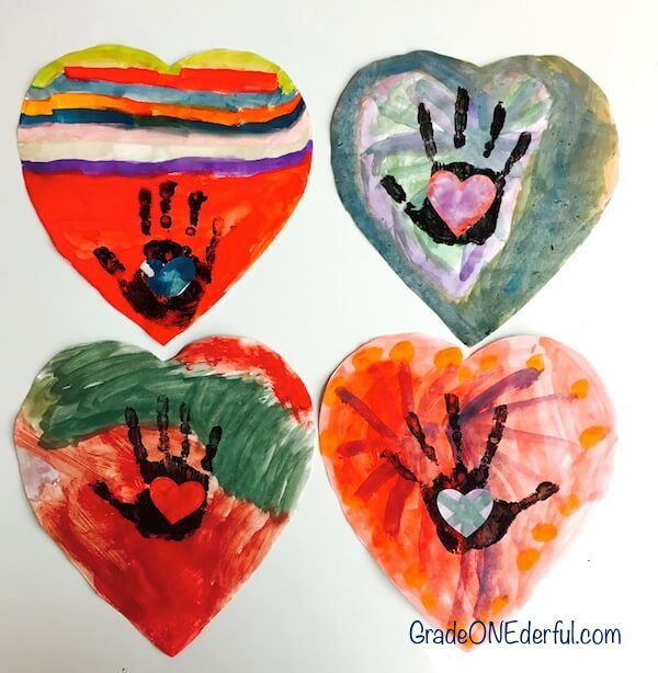 Watercolour handprint valentine art by Grade 1