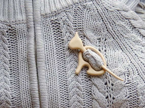 Handmade Wood Shawl and Hair Pins by TurtleWorkshop