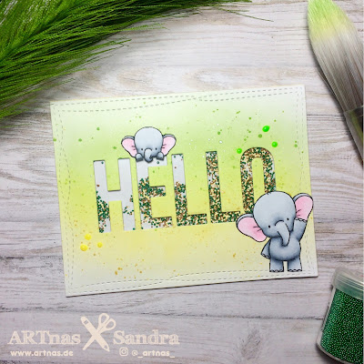 MFT Big Hello Elephant Shaker Card