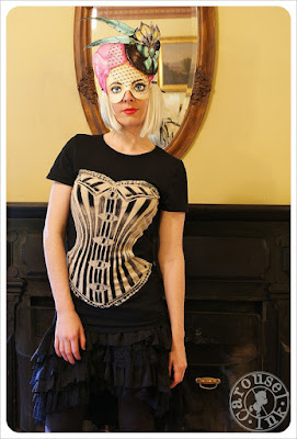 Women's Steampunk Corset T-shirt in Black