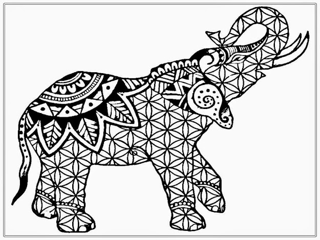 Mandala Elephant Coloring Pages With Adult Free African Realistic