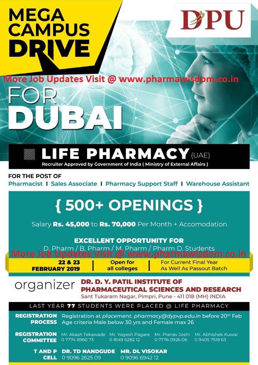 Mega Campus Drive for Dubai (500+ Openings) for B Pharm, D