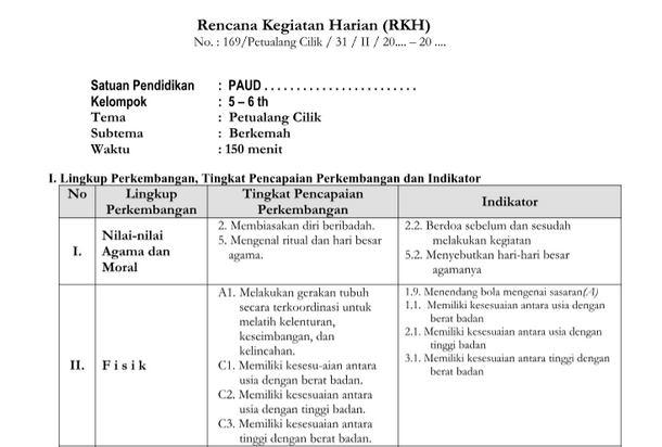 Berikut ini kami bagikan Lengkap dan Gratis  RKH/ RPPH Kurikulum 2013 Usia 5-6 Tahun Semua Tema Pembelajaran