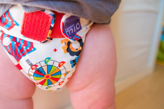 close up of miosolo cloth nappy being worn by toddler