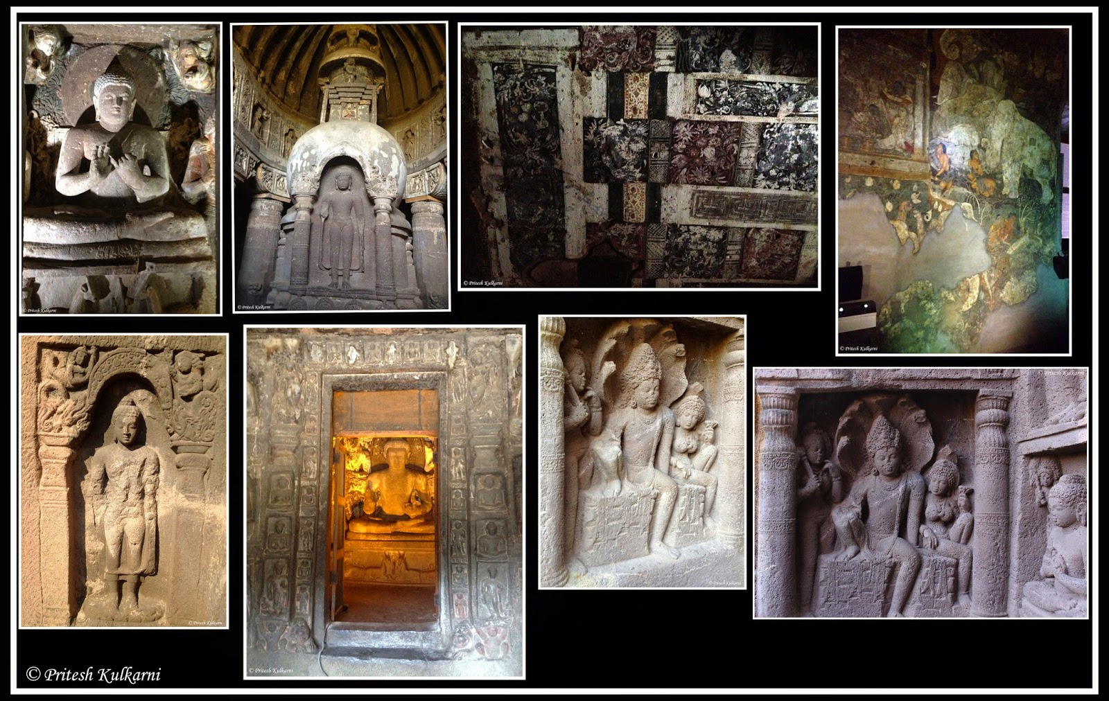 Carving and painting at Ajanta Caves