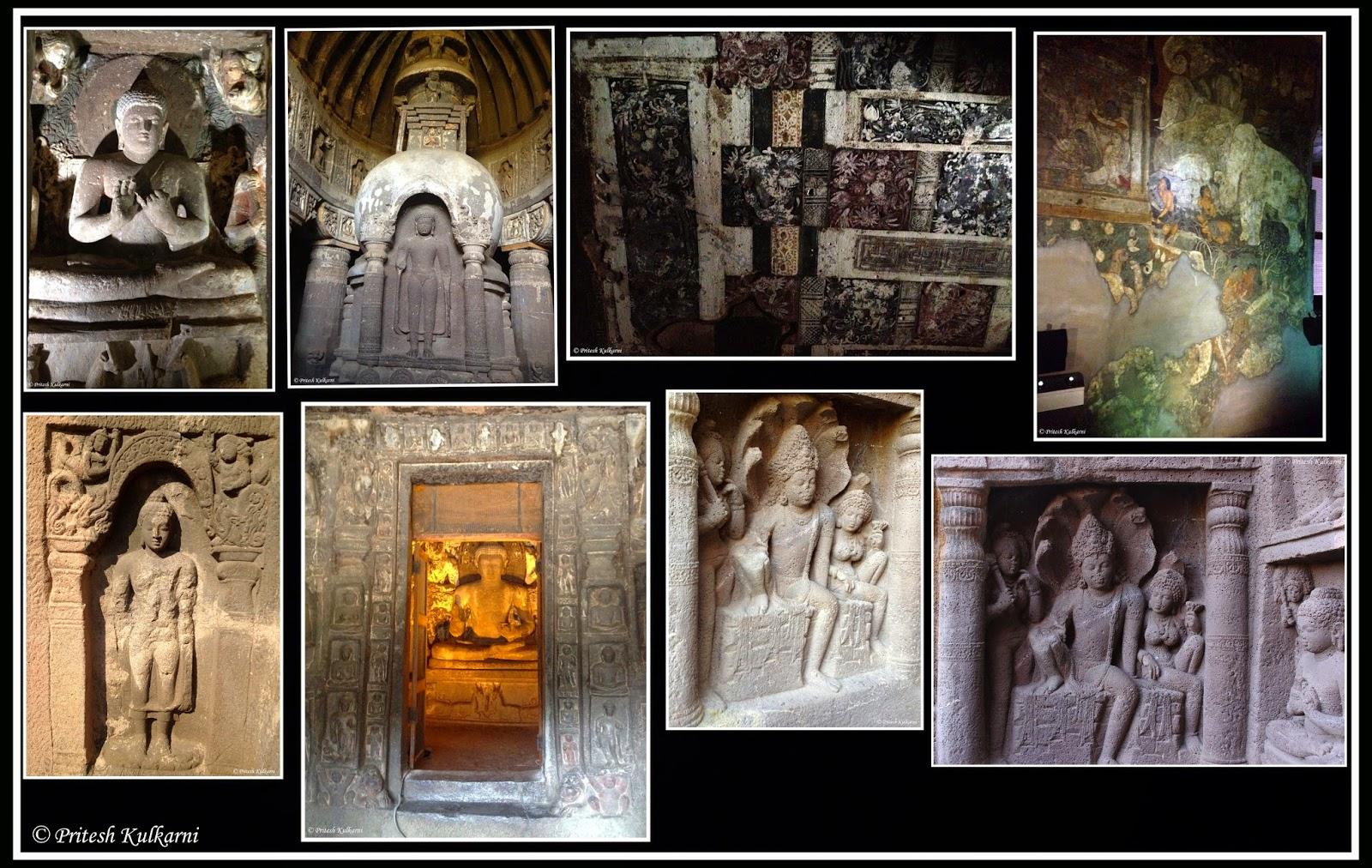 Carving and painting at Ajanta Caves
