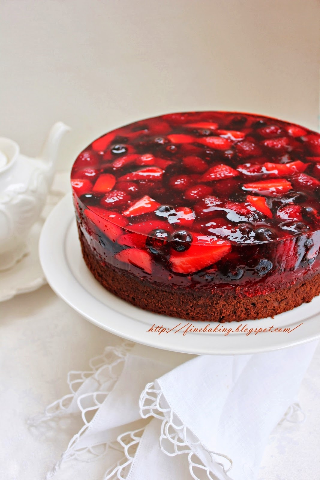 Chocolate Dust Chocolate Berry Jello Cake