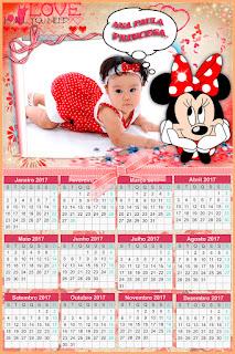 Calendário 2017 para meninas - Minnie