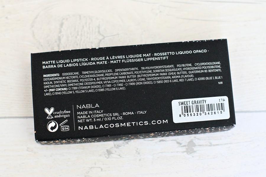 Nabla Dreamy Matte Liquid Lipstick in Sweet Gravity Ingredients