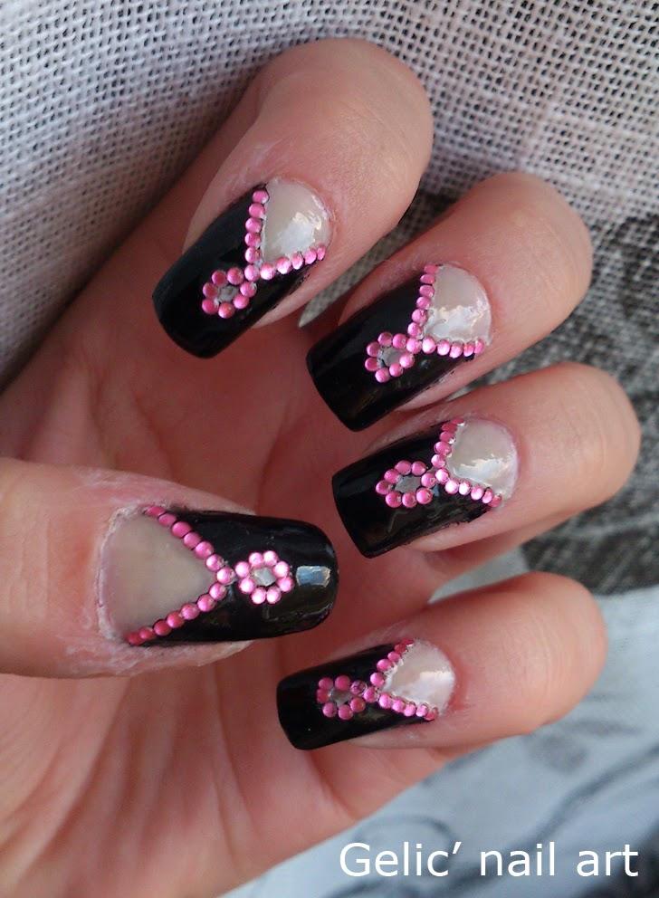 Gelic Nail Art Pink Ribbon Rhinestone Nail Art