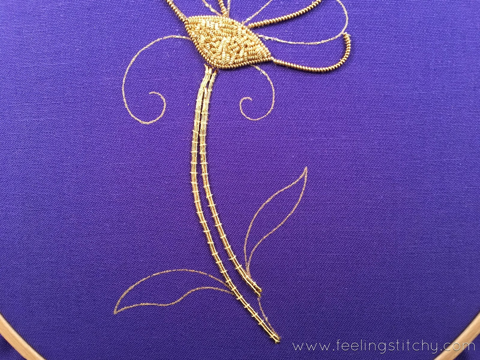 Goldwork Daisy Part 2 by Michelle for Feeling Stitchy