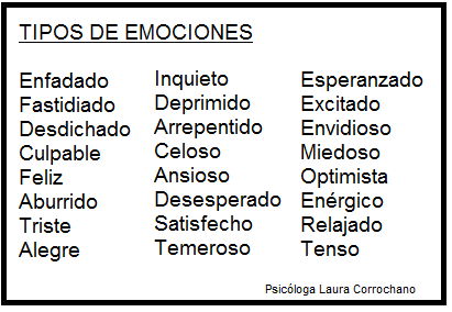 Tipos de emociones Fuente: Laura Corrochano