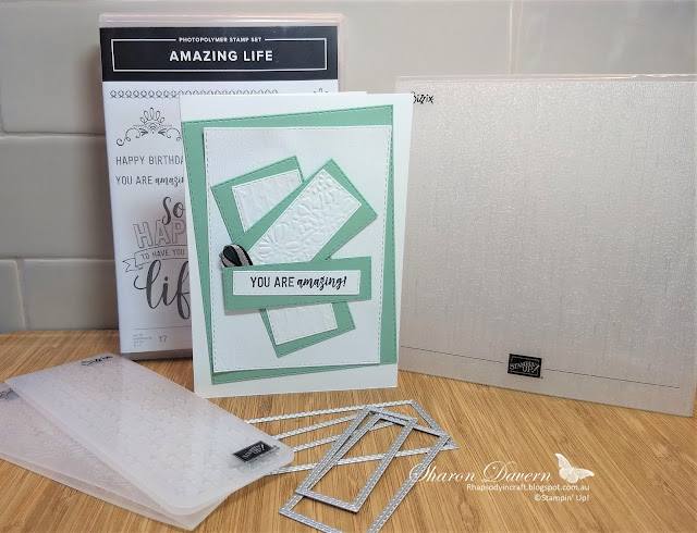 Amazing Life, rectangle stitched fremelits, rhapsody in craft, mint macaron, art with heart