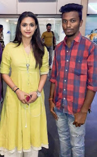 Keerthy Suresh in Yellow Dress with Fan