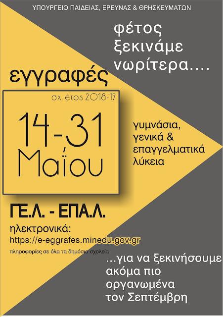 Ξεκίνησαv και ολοκληρώνονται την 31η Μαΐου οι αιτήσεις εγγραφής και δήλωση προτίμησης για ΓΕΛ και ΕΠΑΛ