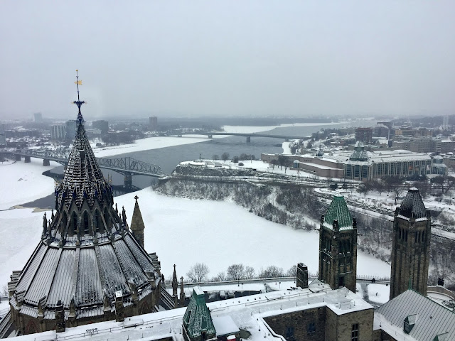 View from the observation deck of the Ottawa river  and Québec, looking past the Parliamentary library.
