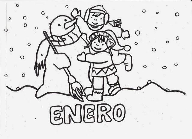 Dibujo De Bolígrafo Infantil Y Libreta Para Colorear: Imagenes De Enero Para Colorear