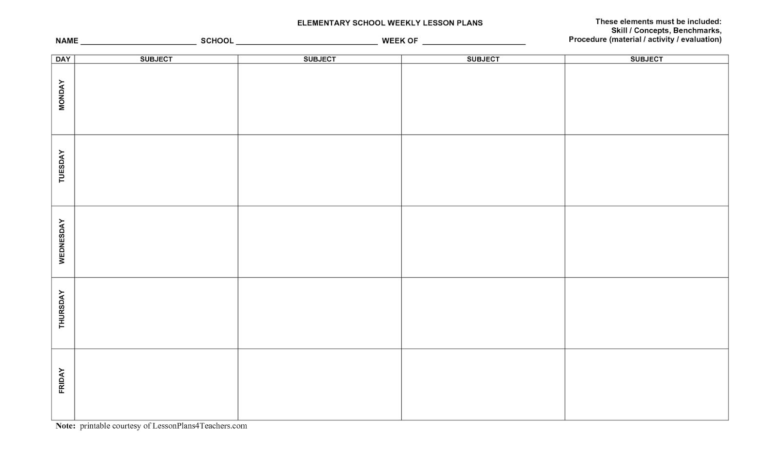 7 Weekly Lesson Plan Template