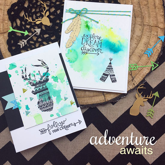 Deer and teepee Cards with watercolor by Jennifer Jackson | Adventure Awaits Stamp set by Newton's Nook Designs #newtonsnook