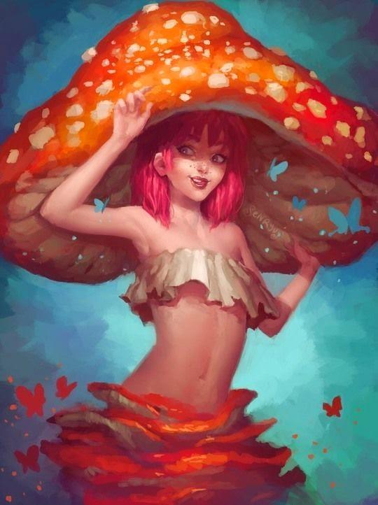 Chica con sombrero de hongo