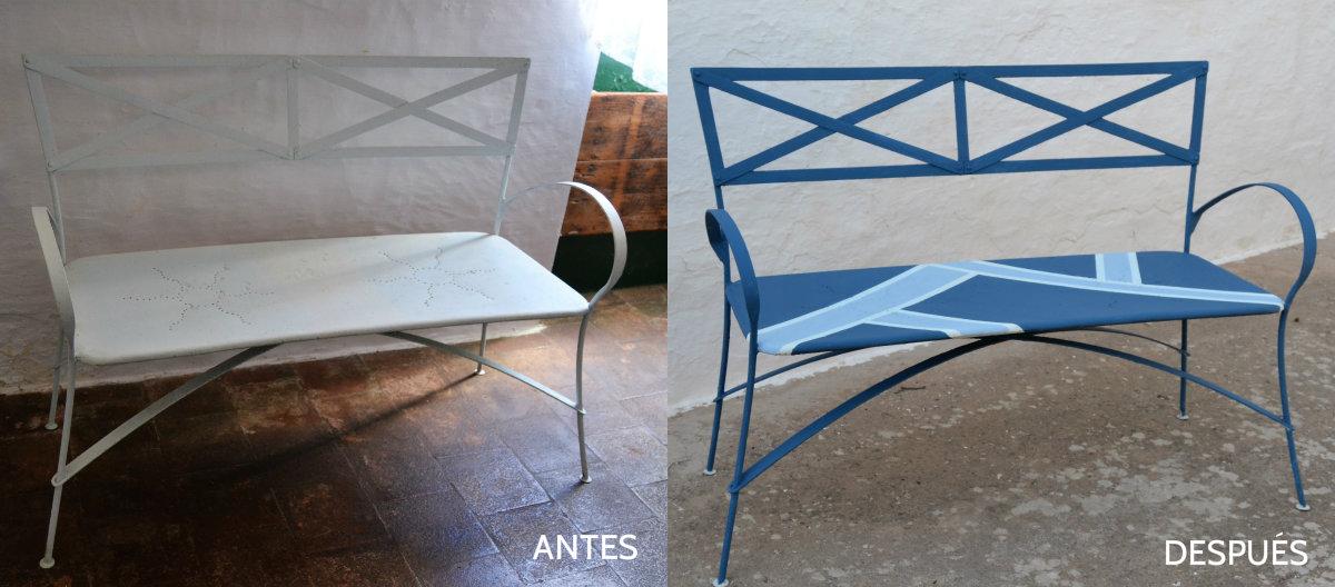 Antes y después de un banco de hierro, transformación con pintura Fleur Paint