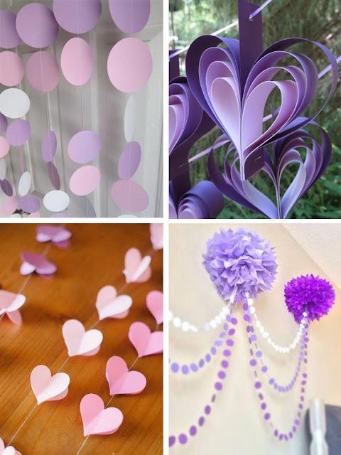 Idei decoratiuni vesele din hartie de matase si carton, pentru botezul unei fetite in culorile mov, alb si roz
