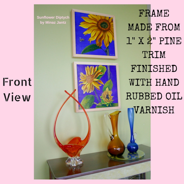 Pine Frame finished with rubbed oil varnish keeping the natural wood color and mat finish
