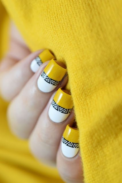 incredible yellow nail art design