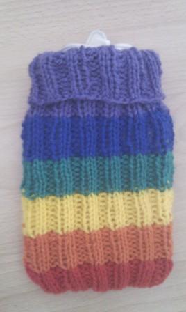 Rainbow Hot Water Bottle Sock Pattern