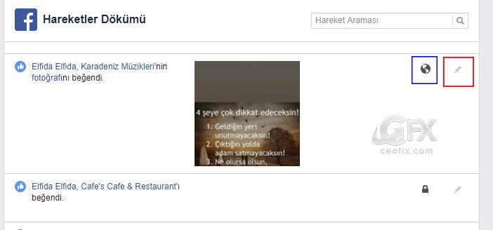 Facebook Hareketler dökümü - www.ceofix.com