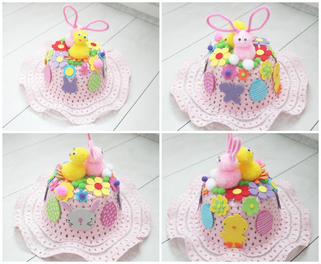 Pink pastel easter bonnet with pink bunny and chick, flowers, eggs.