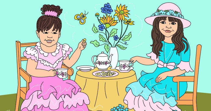 Nicole\'s Free Coloring Pages: TEA TIME * COLORING PAGE