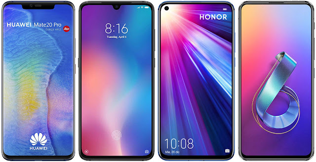 Huawei Mate 20 Pro vs Xiaomi Mi 9 128G vs Honor View 20 256 GB vs Asus ZenFone 6 ZS630KL 128 GB