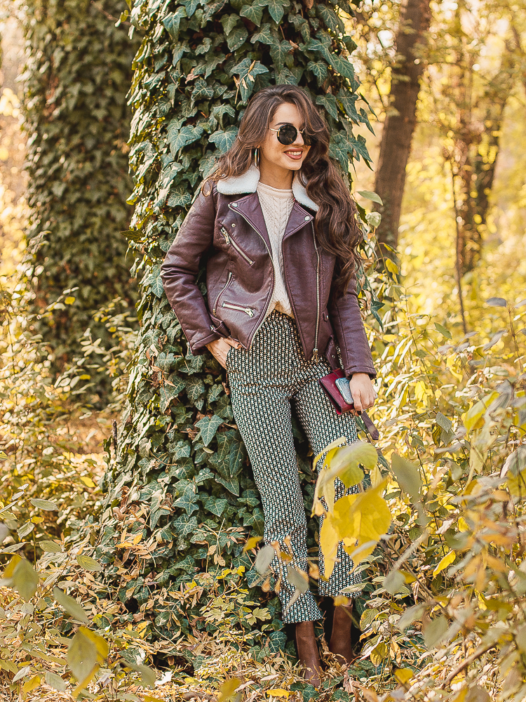 fashion blogger diyorasnotes leather jacket print pants boots asos dresslily shein
