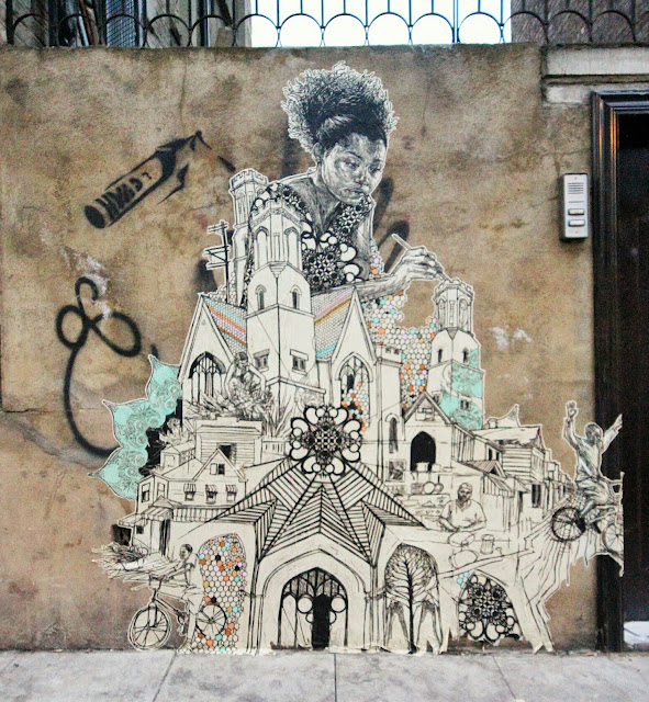 Street Art By American Artist Swoon On the streets of East London, UK. 2