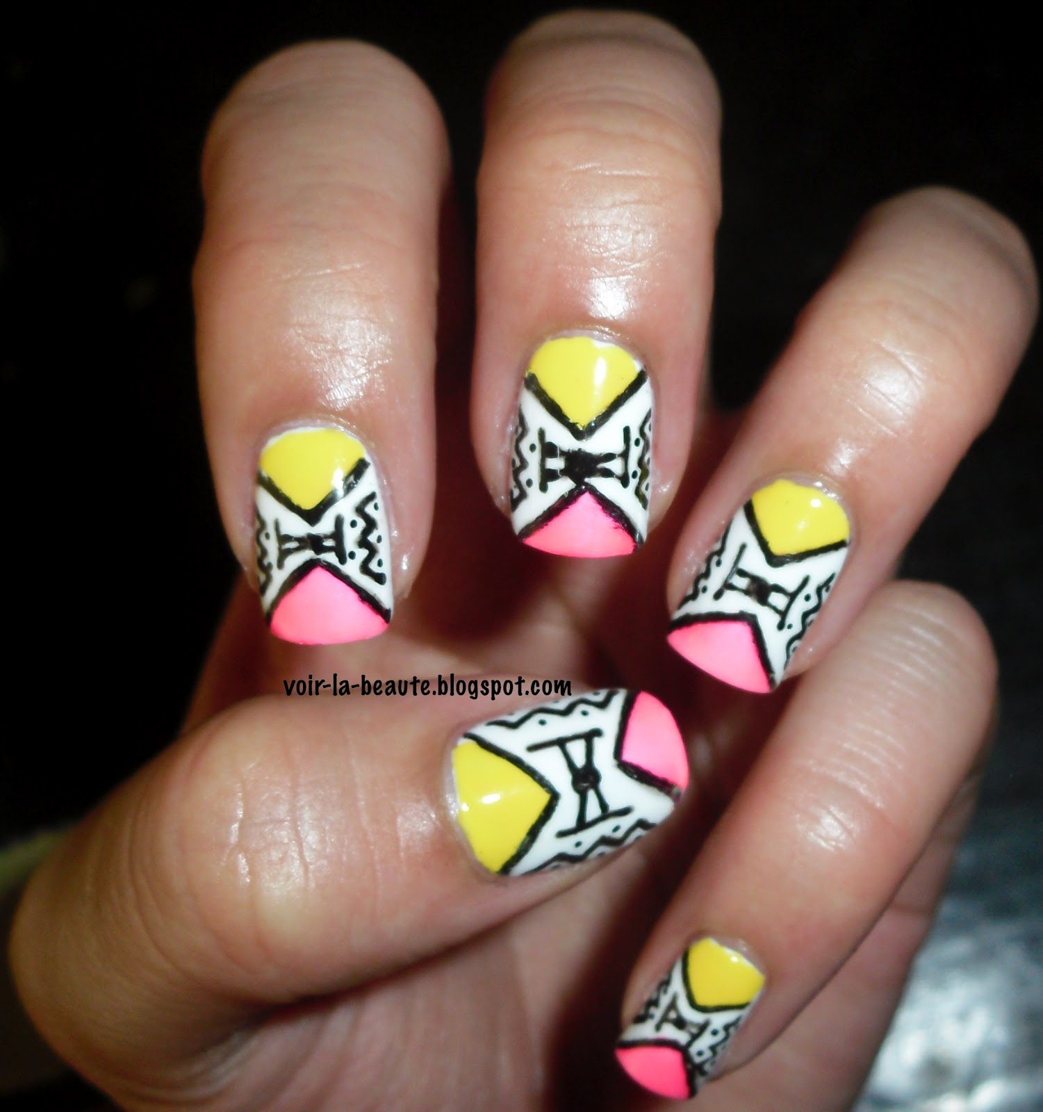 Tribal Nail Art: Polish Love: Neon Tribal Nails