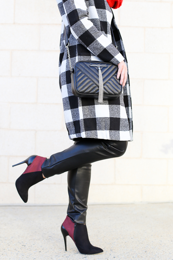 Naturally Me, Holiday Outfit Idea, How to Wear A Plaid Coat for the Holidays, How to Wear a Crossbody Bag, Express Crossbody Bag