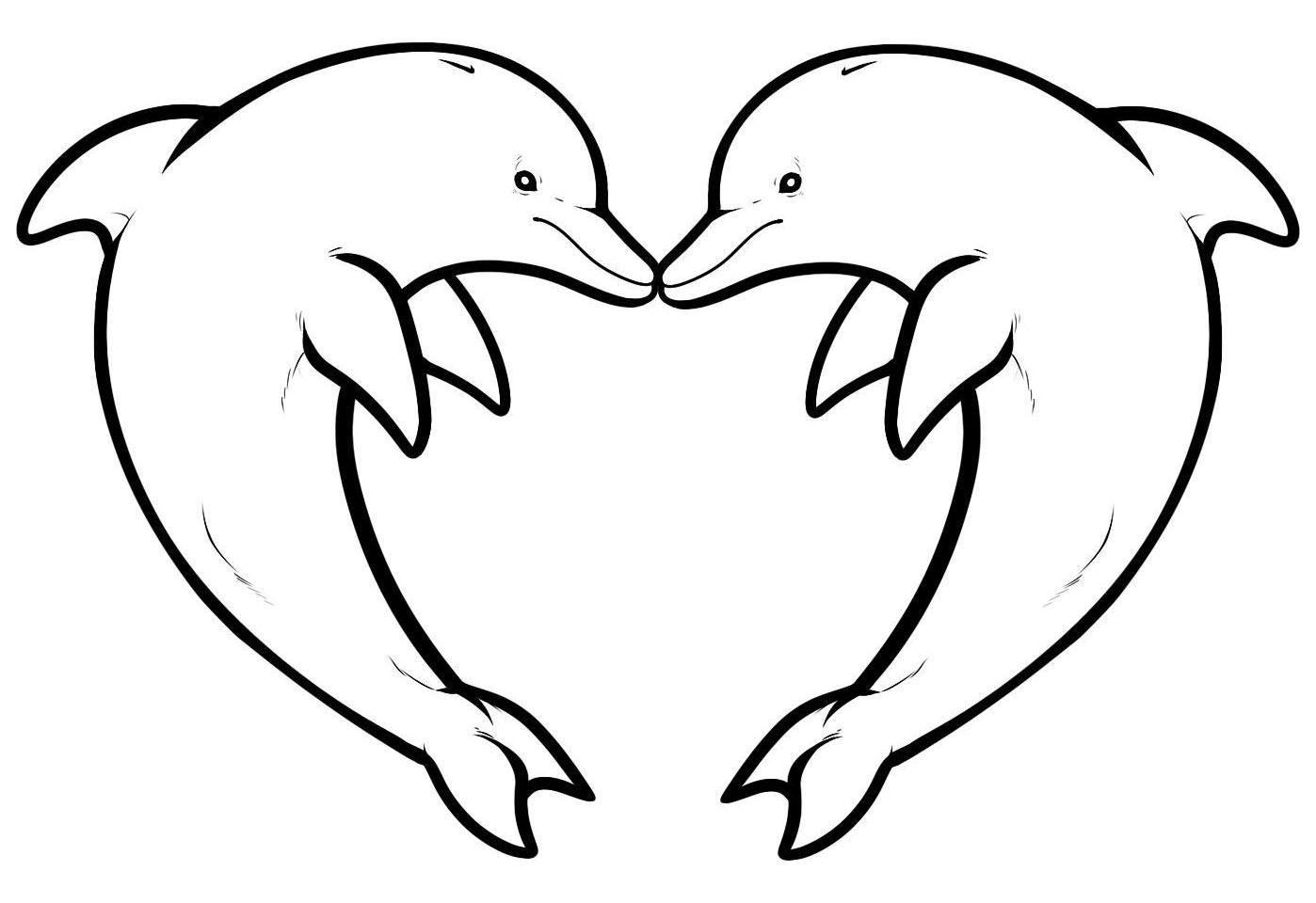Tranh tô màu hai chú cá heo tạo dáng hình trái tim