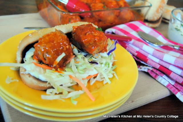 Slow Cooker Buffalo Chicken Meatballs at Miz Helen's Country Cottage