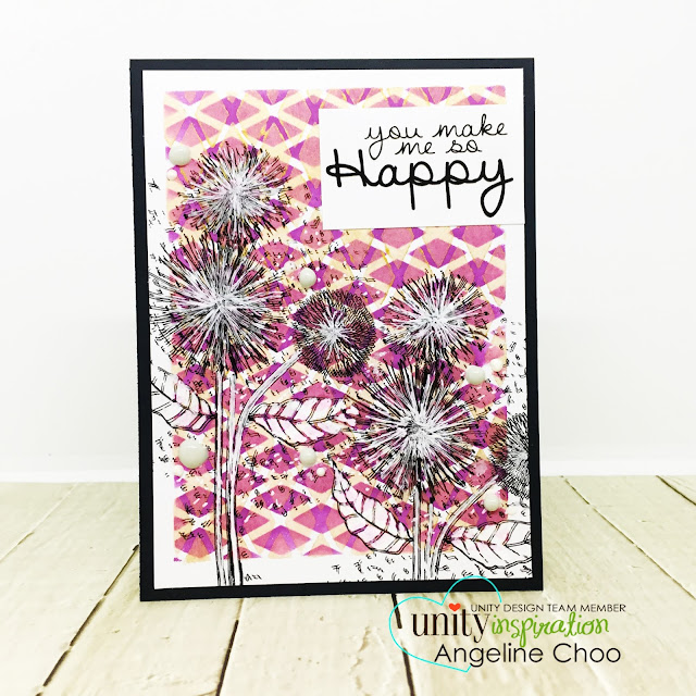 ScrappyScrappy - Unity Stamp's Birthday celebration continues - So Dang Happy #scrappyscrappy #unitystampco #quicktipvideo #youtube #sodanghappy #stencil #rotatestencil #rotatingstencil