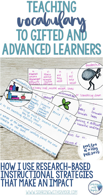 Pinterest pin for Teaching Vocabulary to Gifted and Advanced Learners