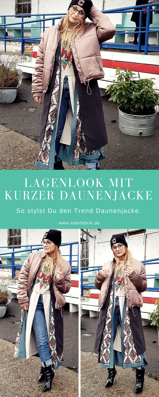 Layering mit Damen Daunenjacke, Metallic Jacke,